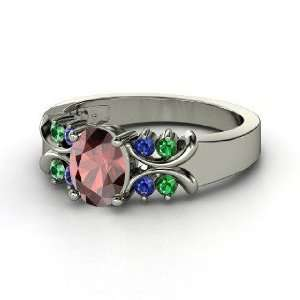 Gabrielle Ring, Oval Red Garnet Sterling Silver Ring with