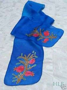 Emanuel Hand Painted Silk Scarf Accessory Blue Pomegranate Design