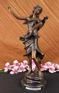 Signed Auguste Moreau Enchanting Beauty Bronze Sculpture Figurine