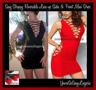 HOT Black Red STRAPPY MINI DRESS Lace up Sides CLUBWEAR