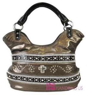 New Western Cowgirl ROCK STAR Rhinestone CROSS Hobo Bling Handbag
