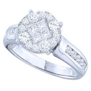 Carat Princess Round Diamond 14k White Gold Preset Engagement Ring