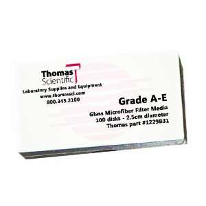Thomas AE1250 Borosilicate Glass Microfiber Filter, 1 Micron, Fast