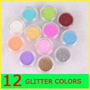 HOT 12 COLORS ACRYLIC UV GEL NAIL ART DECORATION DUST POWDER LASER