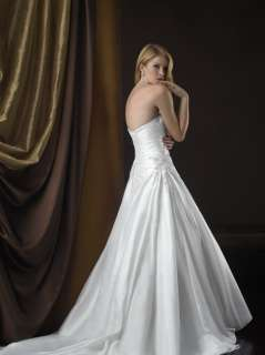 2012 Sweetheart White Taffeta Beads Wedding Dress Bridal Gown Size