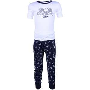 Cowboys Infant White Navy Blue T Shirt & Pants Pajama Set