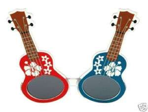 Hawaiian Flower Ukulele Glasses luau beach party hawaii