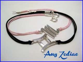 Bracelet Sterling Silver 925 Black or Pink Silver Ends & Clasp