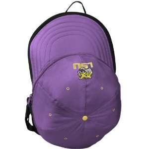 LSU Tigers Purple Black Expandable Hat Backpack