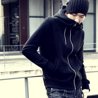MOD MEN Black Asymmetric Exaggerated Collar Zip Hoodie
