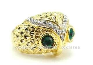Vintage New Golden Crystal Green Eye Big OWL Cocktail Ring S7 Fashion