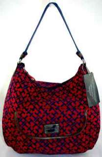 TOMMY HILFIGER CARGO LOGO NAVY/PURPLE SIGNATURE HOBO BAG HANDBAG PURSE