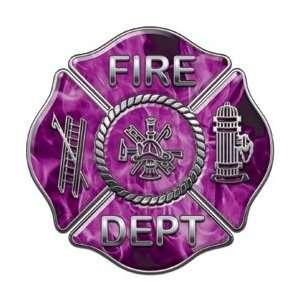 Firefighter Fire Department Decal Purple Skulls 4