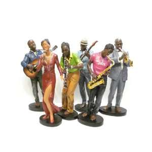 Set of 6 Handmade Jazz Music Band Sculpture Figurines