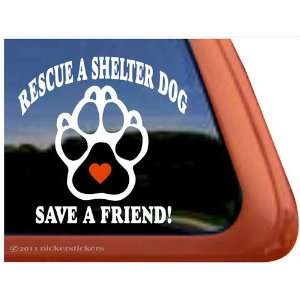 Rescue a Shelter Dog Paw Heart Vinyl Window Decal Sticker