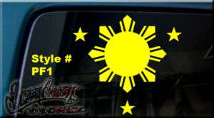Philippine FLAG SUN & STARS Vinyl DECAL STICKER WINDOW