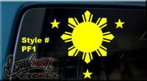Philippine FLAG SUN & STARS Vinyl DECAL STICKER WINDOW
