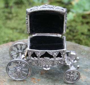 Antique SOLID STERLING 925~14K GOLD Fairy Tale Carriage Coach Ring Box