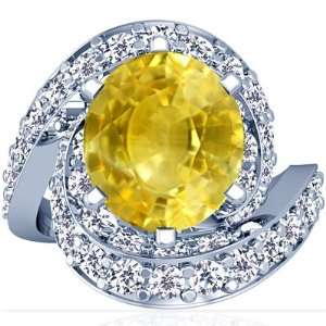 18K White Gold Oval Cut Yellow Sapphire Fana Designer Ring Jewelry