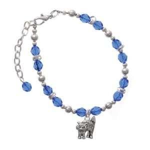 Scary Cat Blue Czech Glass Beaded Charm Bracelet [Jewelry] Jewelry