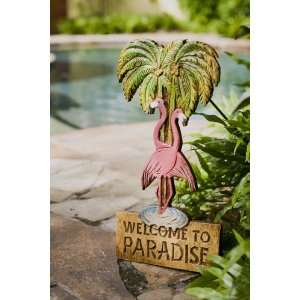 Flamingo sign, Pink flamingo yard decor
