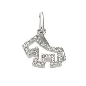 14k Real White Gold Diamond Horse Pendant Charm 17007