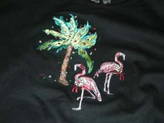 2011 CHRISTMAS FLAMINGOS BLACK SHIRT HOLIDAY DECORATED PALM TREE PARTY