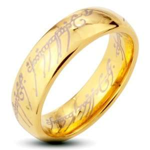 Tungsten Carbide Gold IP Ring Lord Laser Etched Band Ring