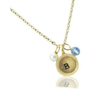 Lucky Feather Letter Coin Charm Necklace   Initial B