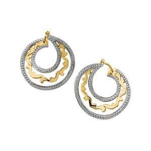 14K Yellow/White Gold Circle Earrings Jewelry