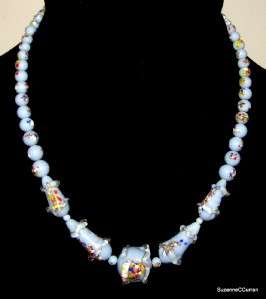 Vintage Murano Art Glass Blue Confetti 15 Choker Necklace