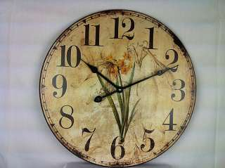 Shabby Cottage Chic Wooden Daffodil Clock Home Decor 807472342849