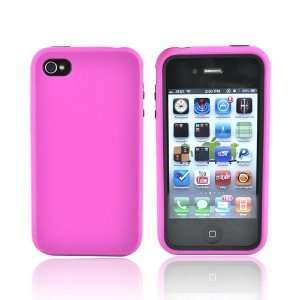 HOT PINK BLACK For iPhone 4 Rubber Hard Case Cover Skin