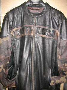 Mens Harley Davidson Nightfall Leather Jacket with Camouflage, 98005