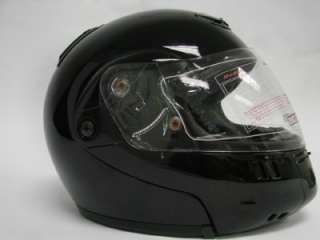 FLIP UP MODULAR MOTORCYCLE STREET HELMET GLOSS BLACK ~L