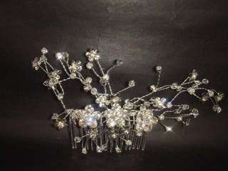 Bridal Rhinestone Crystal Flower Headpiece headwear Hair tiara Comb