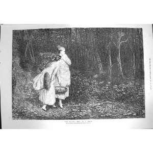 1872 Haunted Wood Ladies Trees Forest Pettie Fine Art