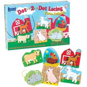 Lauri Toys Dot 2 Dot Lacing Farm Animals Toys & Games