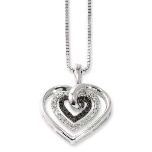 Sterling Silver Black and White Diamond Heart Pendant