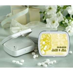 Wedding Favors Yellow Flowers Design Personalized Glossy White Hinged