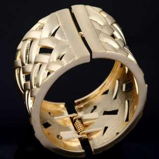 Gold Plated Open ended Oblong Hollow Mesh Bangle Bracelet W/ Spring