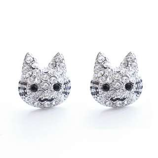 E025 Swarovski Crystal Lovely Kitty Platinum Plated Stud Earring with
