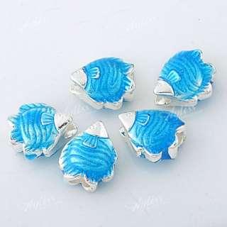5pcs Blue Enamel Fish European Beads Fit Charm Bracelet