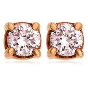 18k Rose Gold Pink Diamond Stud Earrings (1/3 cttw) Jewelry