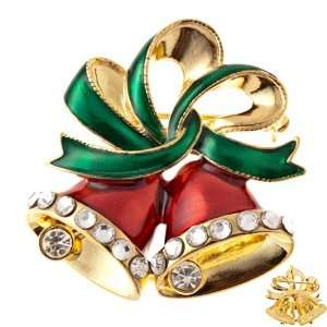 Red Bells Green Ribbon Gold Tone Holiday Crystal Charm Brooch Jewelry