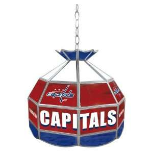 NHL Washington Capitals Stained Glass Tiffany Lamp   16 inch