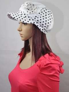White Black Dotting Bowknot Fashion Ladies Beanie Newsboy Hat Caps NEW
