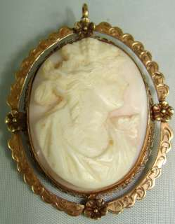 10 K Y/GOLD CARVED SHELL CAMEO BROOCH PIN PENDAN