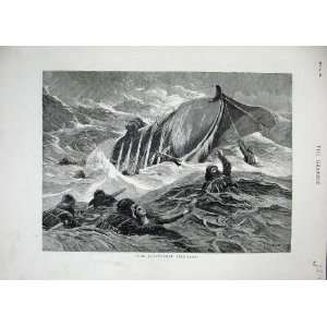 1882 Overturned Life Boat Sea People Storm Fine Art Home