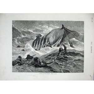 1882 Overturned Life Boat Sea People Storm Fine Art Home